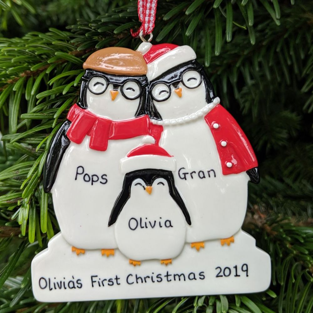 Personalised Penguin Family of 3 Dressed